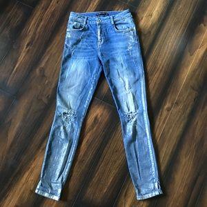 Zara High Waist Metallic Skinny Jeans Distressed 4